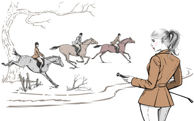 Beautiful fashion woman with english equestrian sport fox hunting style horse rider. England landscape steeplechase tradition rider girl. Vector hand drawn stylish lady model with whip and hair tail
