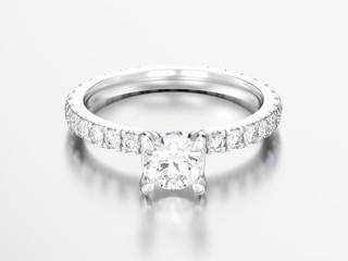 3D illustration silver engagement wedding diamond ring