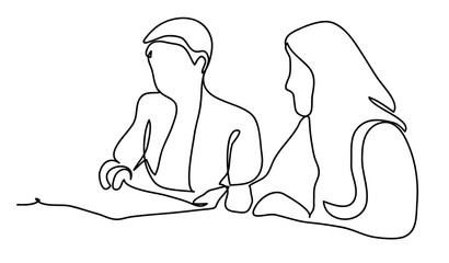 Two business ladies in negotiations. Business concept illustration. Continuous line drawing. Isolated on the white background. Vector illustration monochrome, drawing by lines