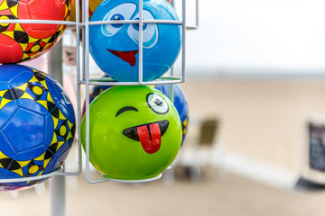 Set of balls to play on the beach, exposed for sale
