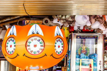 View of recreational toy vending machines, in the middle of a store