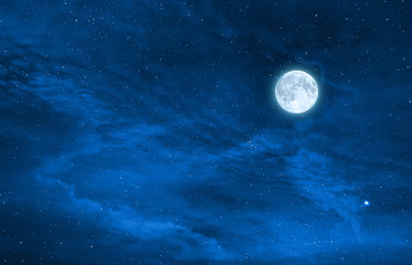 starry night sky design with the full moon , Elements of this image are furnished by nasa