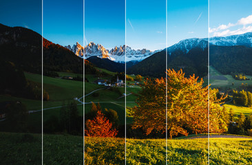 Creative collage of summer landscape with vertical photo. Location place Funes valley.