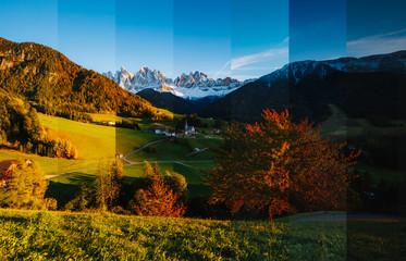 壁紙(ウォールミューラル) - Creative collage of summer landscape with vertical photo. Location place Funes valley.