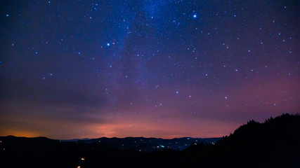 Fantastic view at the starry sky. Astrophotography.