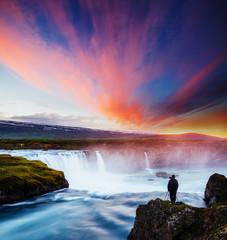 Great rapid flow of water powerful Godafoss cascade. Location place Skjalfandafljot river, Iceland.