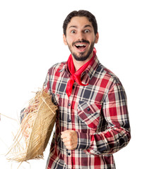 Festa Junina is a brazilian party. Man wearing plaid shirt and straw hat, costume as Caipira.