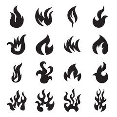 Collection of 16 fire icons isolated on a white background. Vector illustration