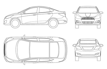 Set of Sedan Cars in outline. Compact Hybrid Vehicle. Eco-friendly hi-tech auto. Isolated car, template for branding and advertising. View front, rear, side, top. Vector illustration