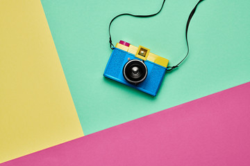 Fashion Film Camera. Pop Art Style. Minimal