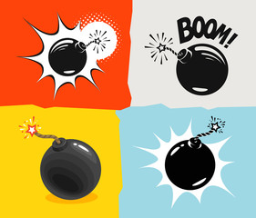 Bomb ready to explode, icon. Bombshell comic cartoon vector illustration