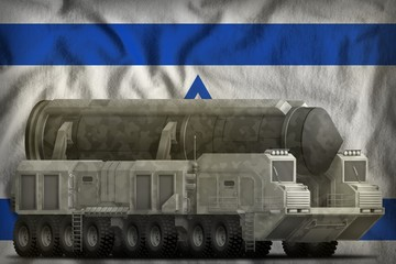 intercontinental ballistic missile with grey camouflage on the Israel national flag background. 3d Illustration