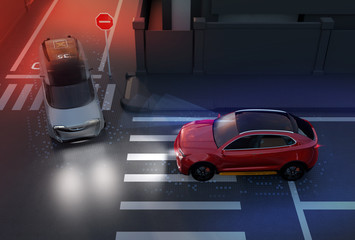 Red SUV avoid a accident from a minivan at crossroad. Advance driver-assistant system concept. 3D rendering image.