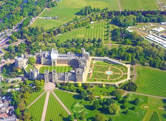 Aerial view of Windsor Castle in Windsor, England