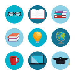 electronic learning technology icons vector illustration design