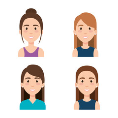 group of young girls avatars vector illustration design