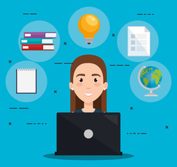 student using laptop electronic education vector illustration design