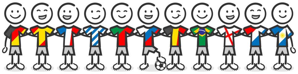 Fussball 2018 Fussballer mit Länder Flaggen Fahnen Strichfiguren
