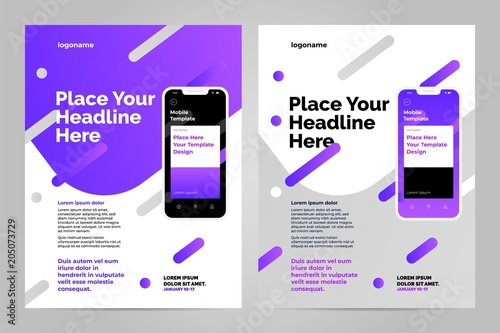 layout template design with mobile application business brochure