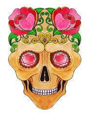 Art Sugar Skull Color Tattoo Day of the dead. Hand watercolor painting on paper.