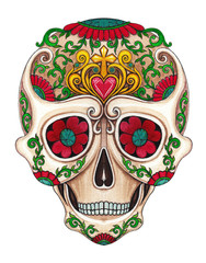 Art Sugar Skull Color Tattoo Day of the dead.. Hand watercolor painting on paper.