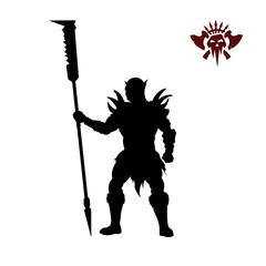 Black silhouette of orc with spear on background. Fantasy character. Angry warrior with weapon. Barbarian tattoo