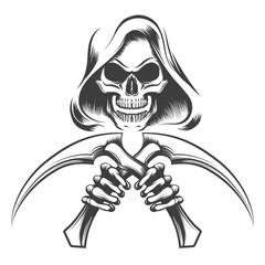 Death with scythe knives