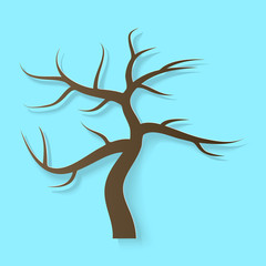 Vector illustration, brown tree without leaves in papercut style with transparent shadows isolated on blue background