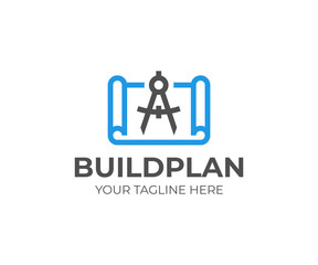Building plan with divider logo template. Architectural project vector design. Construction blueprint logotype