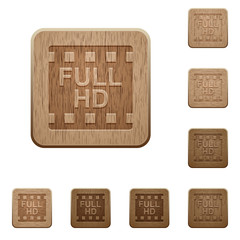 Full HD movie format wooden buttons