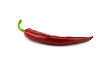 Red hot chili pepper on white.
