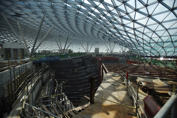 A view of the construction at the Jewel Changi Airport in Singapore