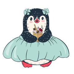 Funny cartoon penguin with cake