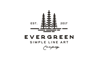 Evergreen, Pine  Cedar, blue spruce tree Vintage retro hipster Logo design Wall mural