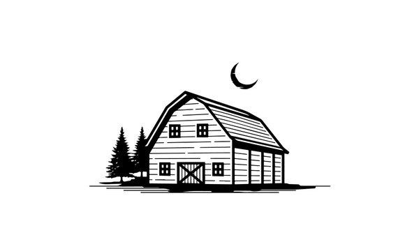 Rustic Retro Vintage Wooden Barn Farm logo Illustration