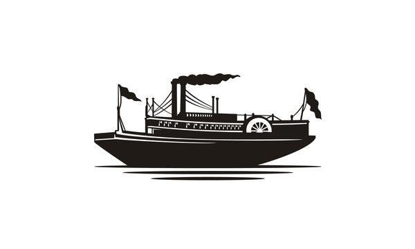 Classic Steamboat Steamship Vessel Ship Boat Silhouette logo design