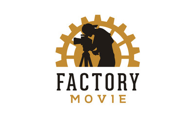 Gear and Cameraman for Movie Production logo design inspiration