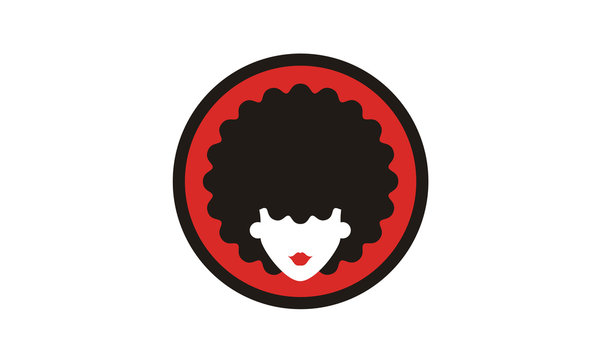 Cute Beauty woman Head with Curls Curly Hair sticker logo design inspiration