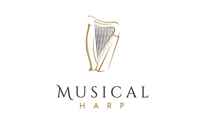 Elegant and Luxury Harp instrument Logo design inspiration
