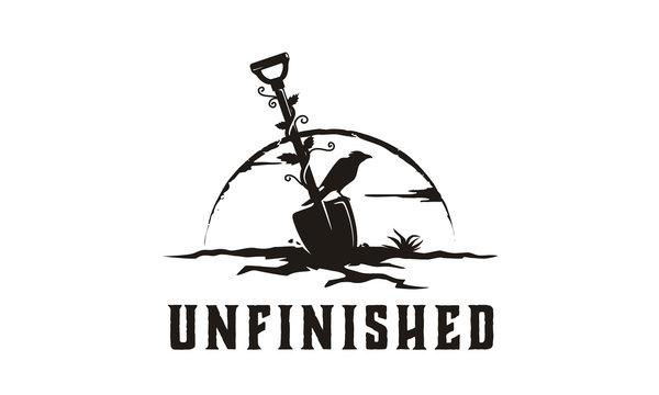 Cracked land shovel spade and crow raven bird illustration logo