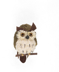 wooden owl on white background