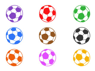 color soccer ball icons set