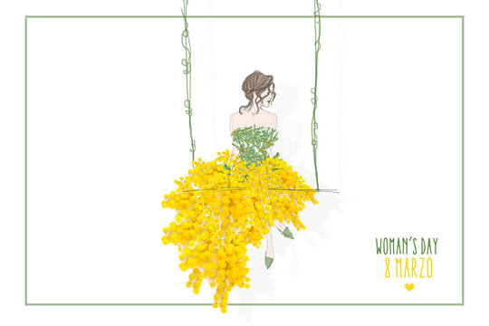 donna con gonna di mimose