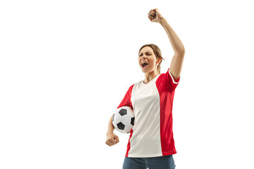 French fan celebrating on white background
