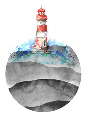 Watercolor illustration of lighthouse. Red and white, black colors, sea landscape. Art illustration, greeting card. Beautiful tower. Round element, logo,sticker