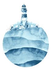 Watercolor illustration of lighthouse.   blue sea landscape. Art illustration, greeting card. Beautiful tower. Round element, logo,sticker