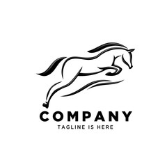 line art jumping horse style logo