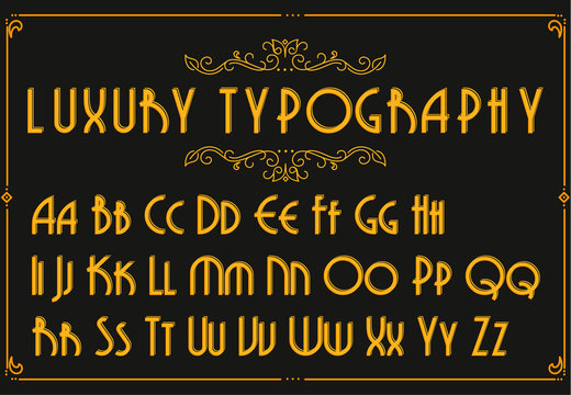 Retro creative font. Creative template in style of 1920s for your design. Letters, Numbers in Vector. EPS 10