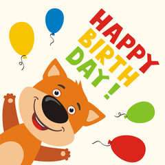 Happy birthday! Greeting card with funny fox and balloons in cartoon style.