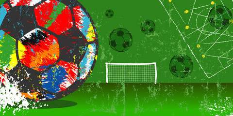 Grungy soccer or football illustration, vector with multicolored soccer ball, free copy space